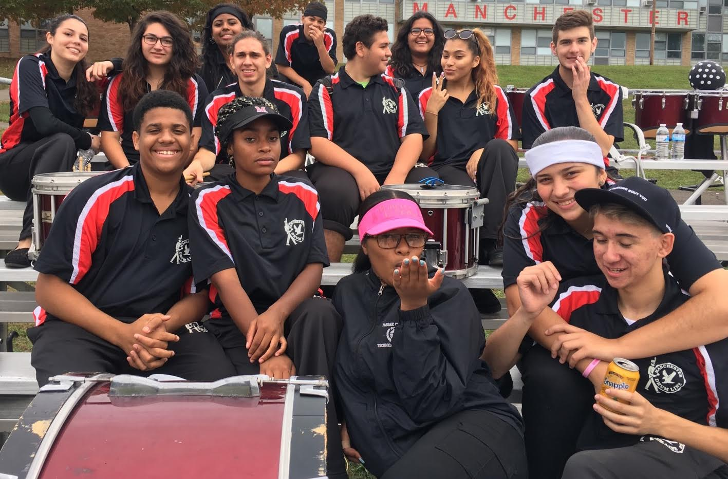 Drumline members at the homecoming game.