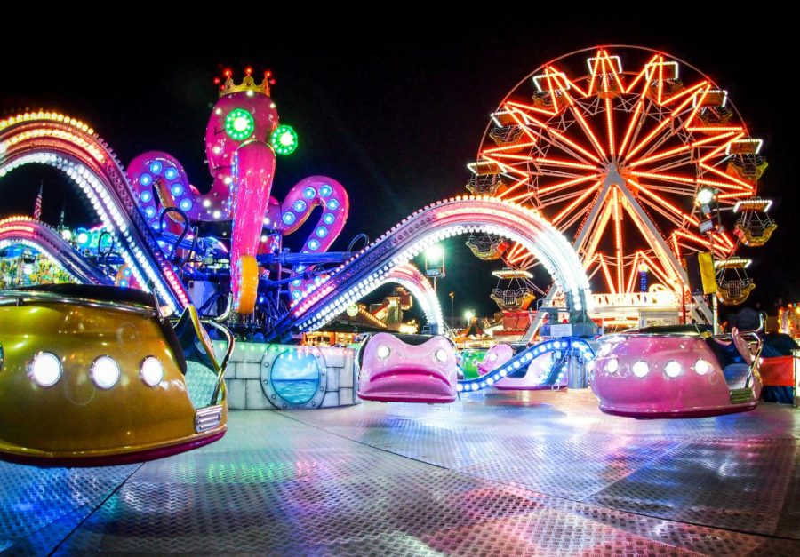 Neon Lights and Colorful Attractions